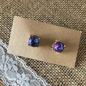 Pink & teal sparkly glitter stud earrings.